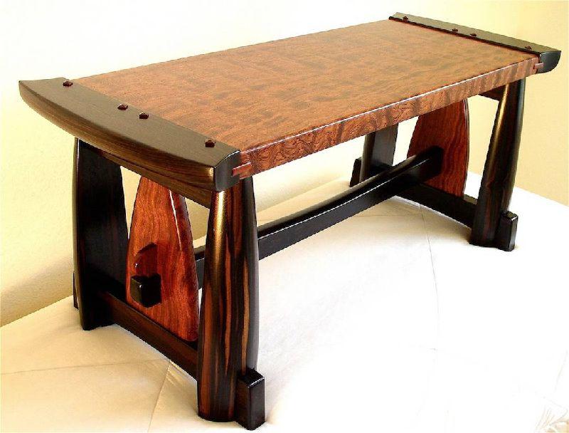 Custom Handmade Bubinga And Macassar Ebony Bench