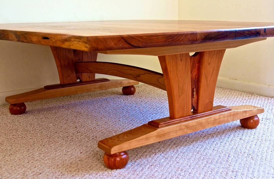 Custom Handmade Live Edge Mesquite Cherry Coffee Table