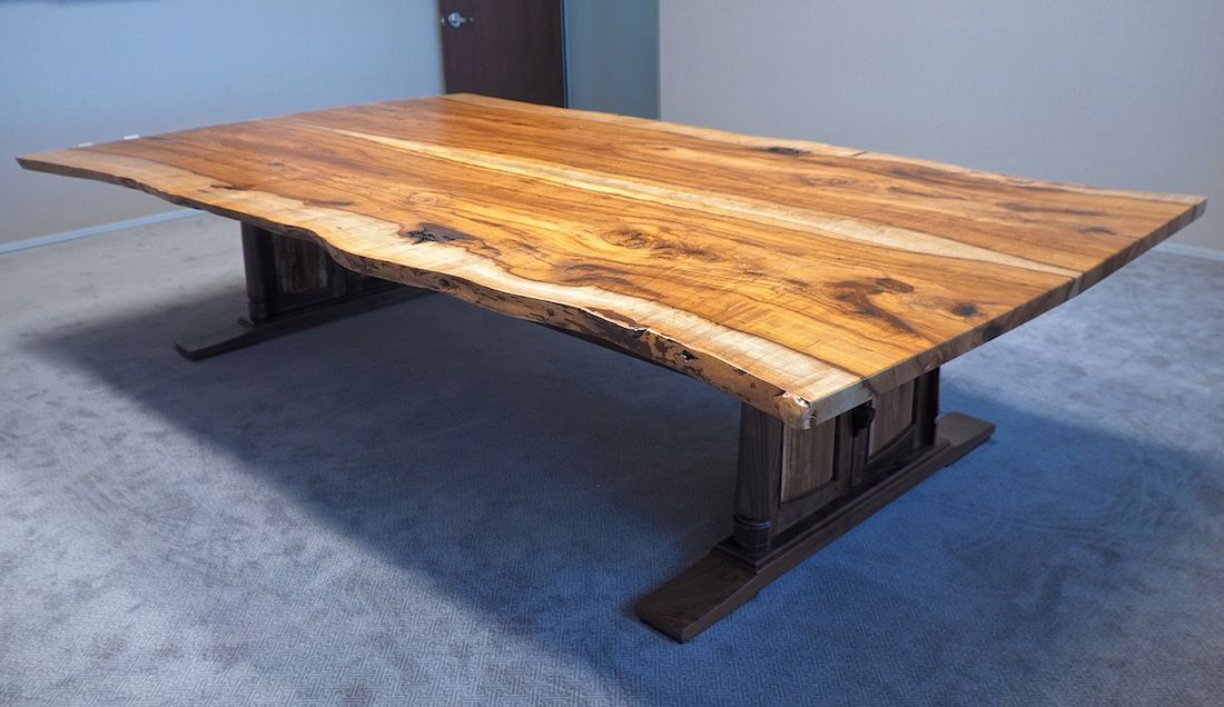Custom Handmade Live Edge Conference Table In Texas Pecan Walnut - Handmade conference table
