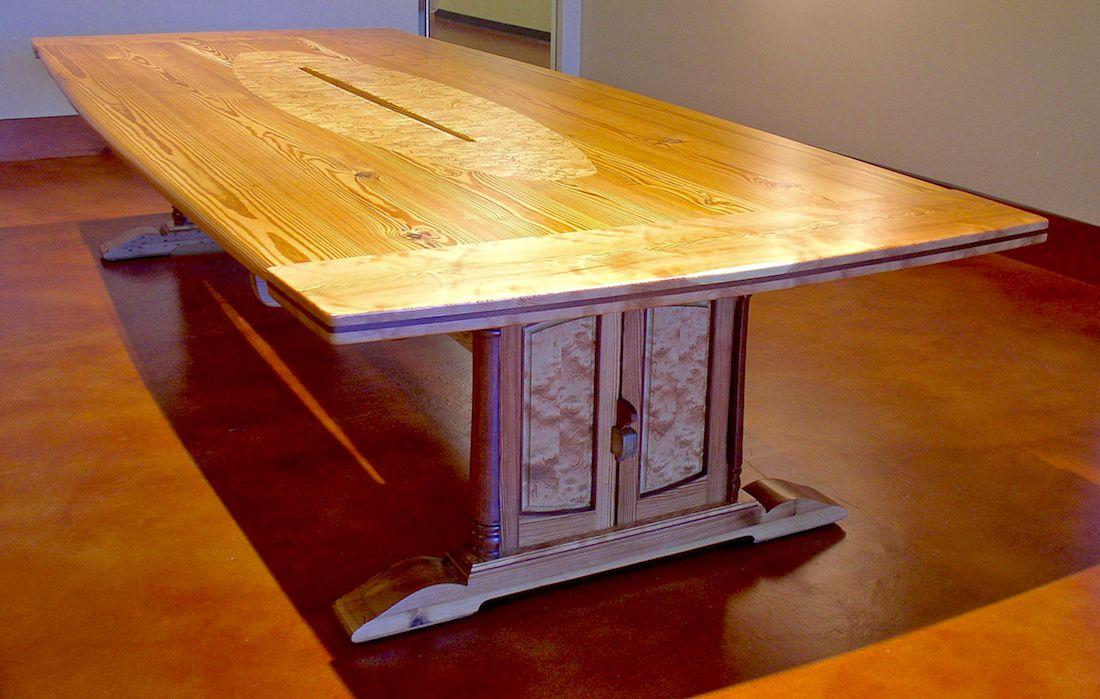 Custom Handmade Heart Pine Sabine River Conference Table - Handmade conference table